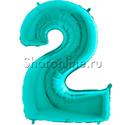 "Фото №1: Шар ""Цифра 2"" цвета Тиффани 102 см"