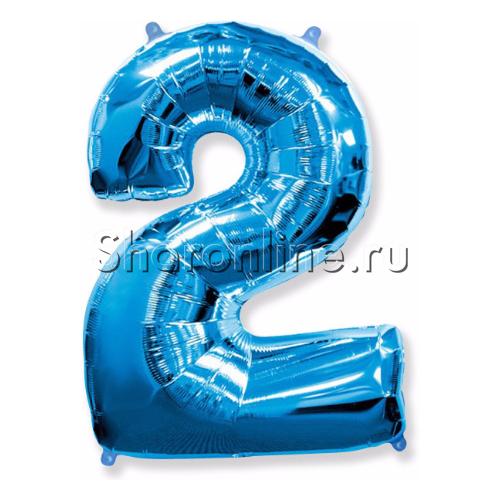 """Фото №1: Шар """"Цифра 2"""" Синяя 99 см"""