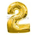 """Фото №1: Шар """"Цифра 2"""" Золото 99 см"""