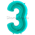 "Фото №1: Шар ""Цифра 3"" цвета Тиффани 102 см"
