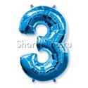 """Фото №1: Шар """"Цифра 3"""" Синяя 99 см"""