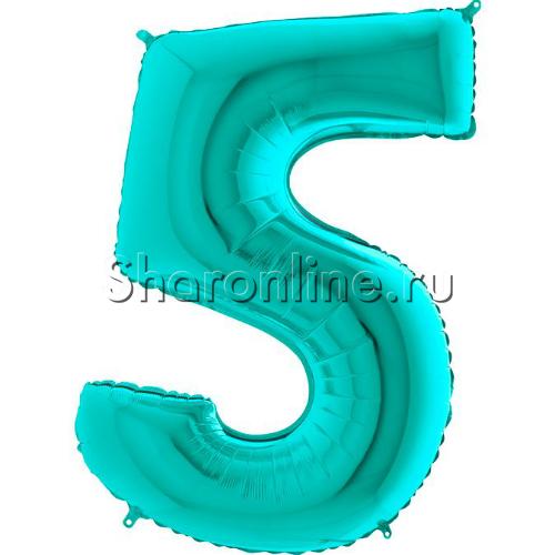 "Фото №1: Шар ""Цифра 5"" цвета Тиффани 102 см"