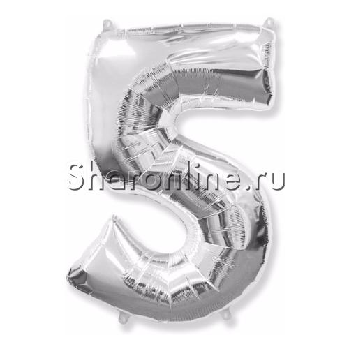 """Фото №1: Шар """"Цифра 5"""" Серебро 99 см"""