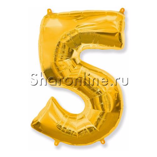 """Фото №1: Шар """"Цифра 5"""" Золото 99 см"""