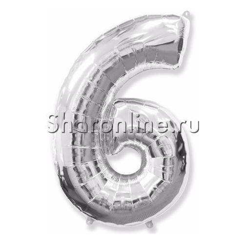"""Фото №1: Шар """"Цифра 6"""" Серебро 99 см"""