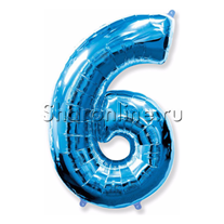 """Шар """"Цифра 6"""" Синяя 99 см"""