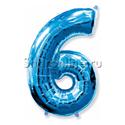 """Фото №1: Шар """"Цифра 6"""" Синяя 99 см"""