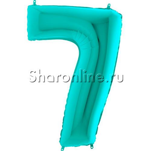 "Фото №1: Шар ""Цифра 7"" цвета Тиффани 102 см"