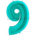 "Фото №1: Шар ""Цифра 9"" цвета Тиффани 102 см"
