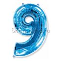 """Фото №1: Шар """"Цифра 9"""" Синяя 99 см"""
