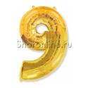 """Фото №1: Шар """"Цифра 9"""" Золото 99 см"""