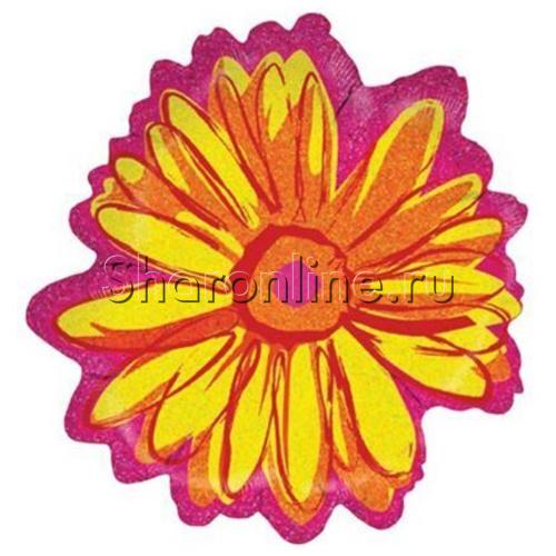 Фото №1: Шар Фигура Цветок Желтый, голография, 56 см