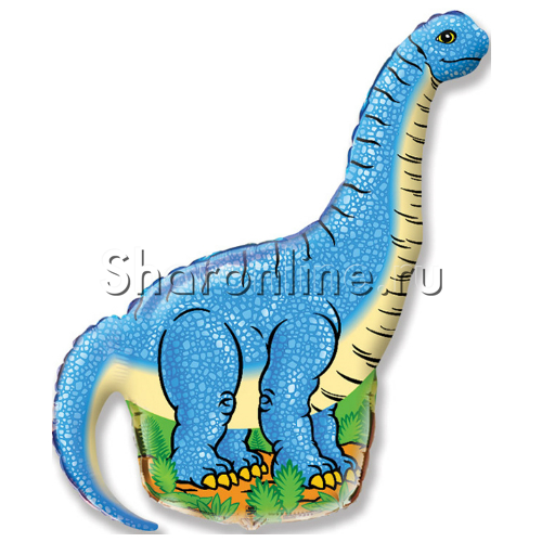 "Фото №1: Шар Фигура Динозавр ""Диплодок"" синий 109 см"