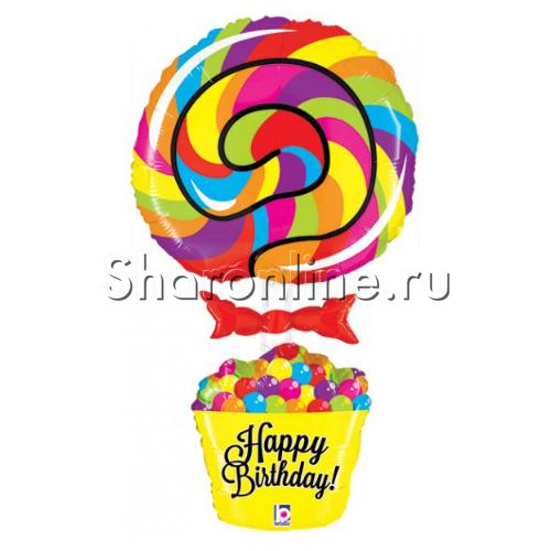 """Фото №1: Шар Фигура """"Леденец Happy Birthday"""" 101 см"""