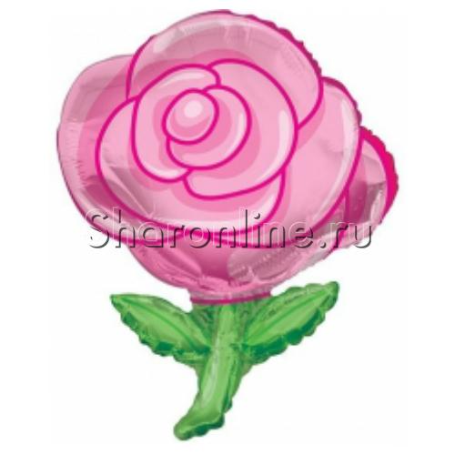 """Фото №1: Шар Фигура """"Роза"""" розовая 91 см"""