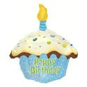 """Фото №1: Фольгированный шар """"Кекс с Днем Рождения"""" голубой 51 см"""