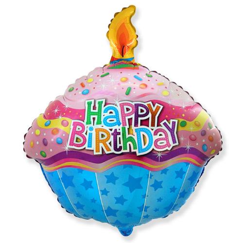 """Фото №1: Фольгированный шар """"Кекс с Днем рождения"""" разноцветный 60 см"""