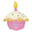 """Фото №1: Фольгированный шар """"Кекс с Днем Рождения"""" розовый 51 см"""