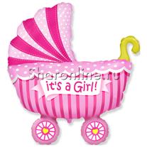 """Шар """"Коляска детская"""" розовая 79 см"""