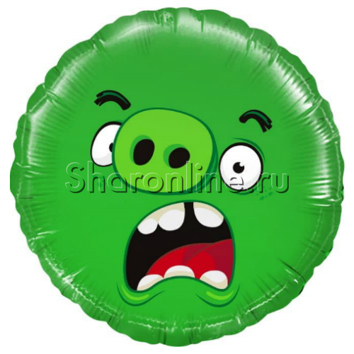 "Фото №1: Шар Круг ""Angry Birds"" зеленый 46 см"