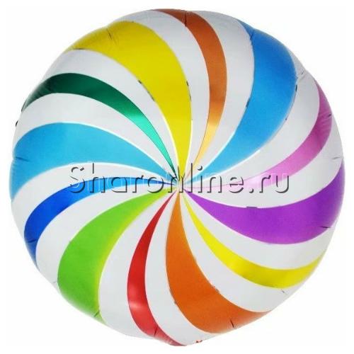 """Фото №1: Шар Круг """"Леденец"""" разноцветный 46 см"""