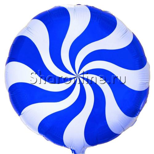 "Фото №1: Шар Круг ""Леденец"" синий 46 см"