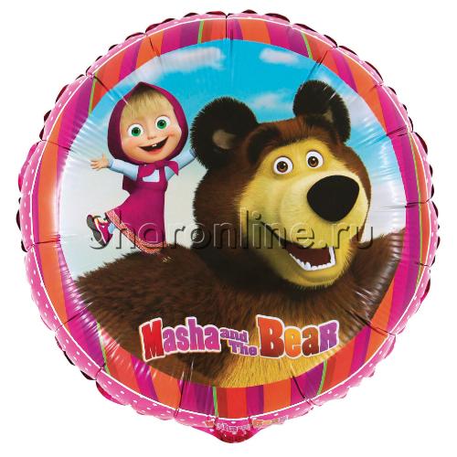 "Фото №1: Шар Круг ""Маша и Медведь"" 46 см"