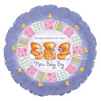 """Шар Круг """"С рождением мальчика"""" Мишки 46 см"""