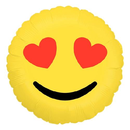 Фото №1: Шар из фольги Круг Смайл Эмоции Влюбленный 46 см