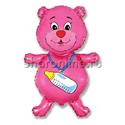 """Фото №1: Шар """"Медвежонок-девочка"""" розовый 81 см"""