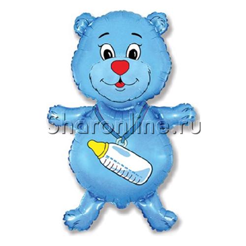 "Фото №1: Шар ""Медвежонок-мальчик"" синий 81 см"