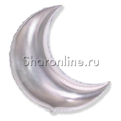 """Фото №1: Шар """"Полумесяц"""" серебро 89 см"""