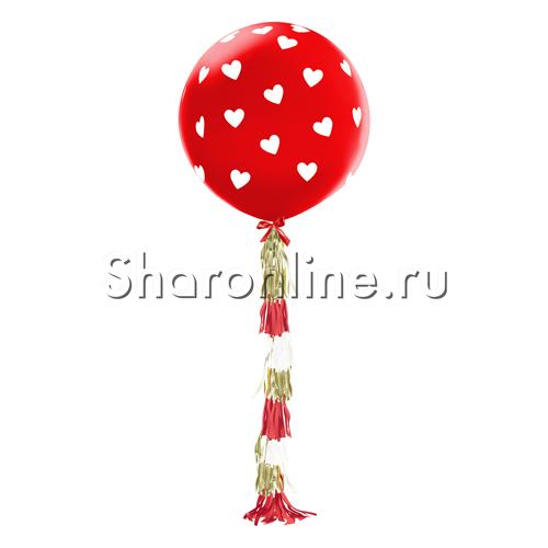 """Фото №1: Шар с гирляндой тассел """"Белые сердца"""" Красный"""