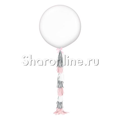 Фото №1: Белый шар с гирляндой тассел - 80 см