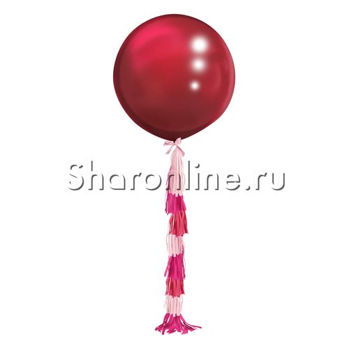 Фото №2: Шар Бургундия с гирляндой тассел - 80 см