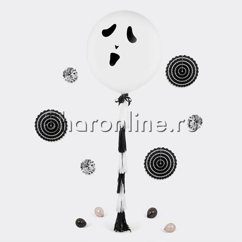 """Фото №1: Шар с гирляндой тассел """"Привидение"""" белый 80 см"""