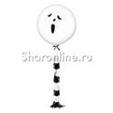 """Фото №2: Шар с гирляндой тассел """"Привидение"""" белый 80 см"""