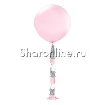Шар с гирляндой тассел Розовый 80 см