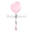 Фото №1: Розовый шар с гирляндой тассел - 80 см