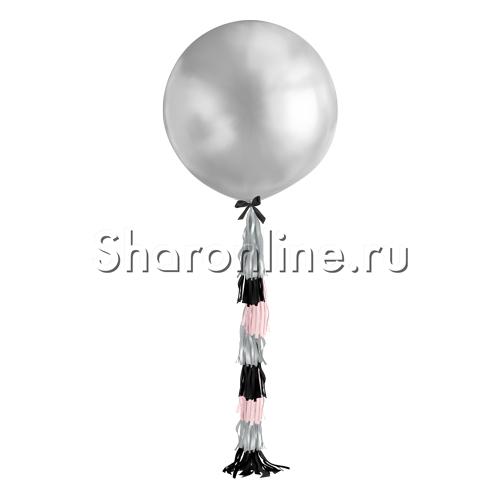 Фото №1: Шар с гирляндой тассел Серебряный 80 см