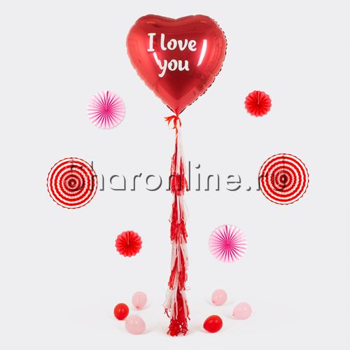 """Фото №1: Шар с тассел """"I Love You"""" красное сердце"""