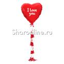 """Фото №2: Шар с тассел """"I Love You"""" красное сердце"""