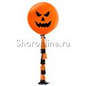 """Фото №2: Шар с тассел """"Зловещая тыква"""" оранжевая"""