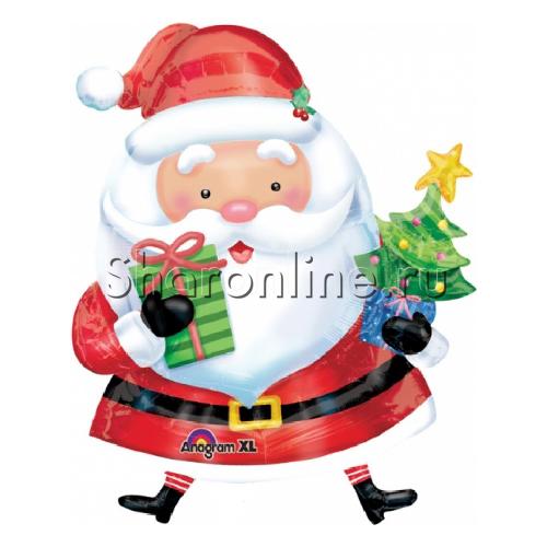 """Фото №1: Шар """"Санта с елкой"""" 71 см"""
