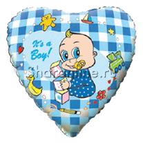 """Шар Сердце """"Новорожденный мальчик"""" 46 см"""
