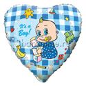 """Фото №1: Шар Сердце """"Новорожденный мальчик"""" 46 см"""