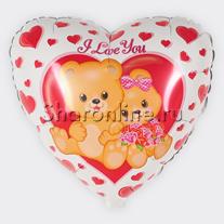 """Шар Сердце """"Влюбленные мишки"""" 46 см"""