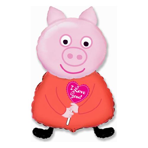 """Фото №1: Фольгированный шар """"Свинка"""" розовая 81 см"""