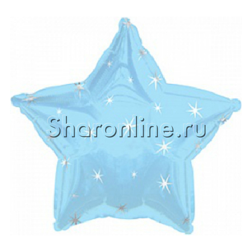 Фото №1: Голубой шар «Звезда с искрами» - 46 см