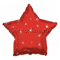 Шар Звезда Искры красный 46 см